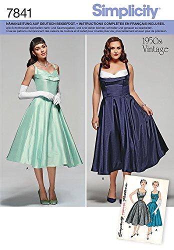 Simplicity S7841.BB Patron de Couture Robe vintage, Papier, Blanc, 21 x 15 x 1 cm