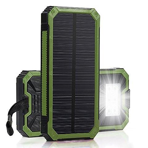 AOKARLIA Solar Power Bank, 12000Mah Dual Usb Port Universal Ultra-Slim ImperméAble à L'Eau Portable Powered Mobile Cell Phone Battery Charger Pour Ipad Tablet Camera Gps , blue