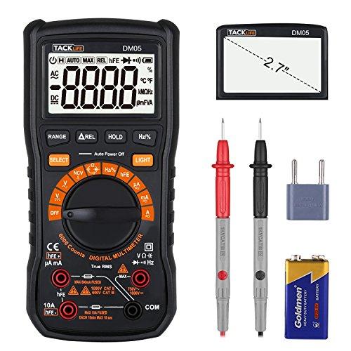 Multimètre, Tacklife DM05/6000 Comptes True RMS/ Gamme Automatique et Manuelle Commutable/ Mesure relative/ Mesurer Tension AC/DC, Courant, Capacité, Fréquence, Transistors, Diode