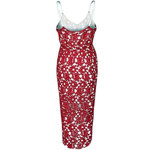 Oyedens Damen Modisch Blumen Spitze äRmellos V-Ausschnitt Formale Schaukel UnregelmäßIg Kleid Rot