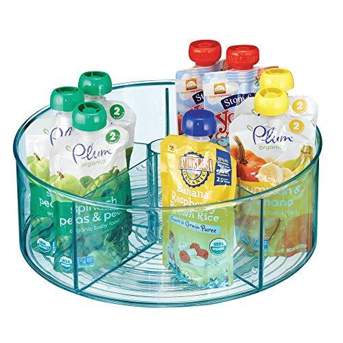 mDesign drehbare Ablage für Küche und Bad - runde Ablagefläche mit 5 Fächern und hohem Rand - Aufbewahrung für Babyausstattung aus BPA-freiem Kunststoff und Edelstahl - blau (Flasche Baby Regal)