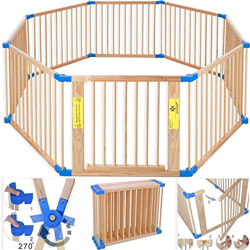 Kesser 7,2 Meter Laufgitter XXL klappbar, bestehend aus 8 Elementen, inkl. Tür, Laufgitter individuell formbar Laufstall Absperrgitter, Erweiterbar