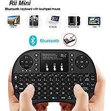 (Novedad 2015, con Luz de fondo) Rii mini i8+ Mini Teclado Bluetooth ergonómico con ratón tipo touchpad incorporado. Compatible con SmartTV, Mini PC, Android, PS3, PS4, Xbox, HTPC, PC, Raspberry Pi, Kodi, XBMC, IPTV, MacOS, Linux y Windows XP/7/8/10
