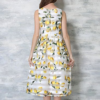 PU&PU Robe Aux femmes Trapèze Simple,Imprimé Col Arrondi Mi-long Polyester WHITE-S