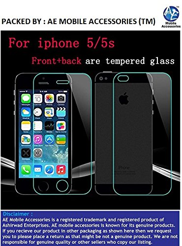 AE MOBILE ACCESSORIES iphone 5 / 5s AE (TM) Tempered Glass Screen Scratch Protector Guard for Apple iphone 5 / 5S Front and Back