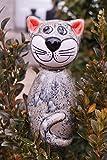 Keramik Katze Lotti grau für Stab 13 cm Gartenstecker Figur Handarbeit