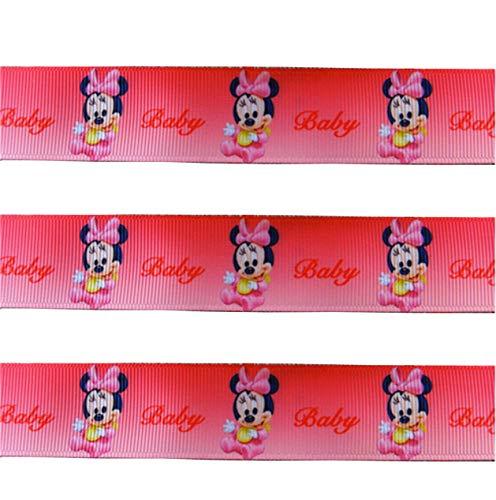 chrift und Minnie Mouse-Motiv, für Babyparty, Kuchen, Taufen, Geschenkpapier, Geschenke, 2 m x 22 mm ()