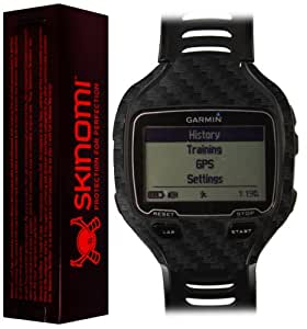 Skinomi TechSkin - Garmin Forerunner 910XT Screen Protector Carbon Fiber Black Full Body Skin Front Back Premium HD Clear Film Ultra High Definition Invisible and Anti Bubble Crystal Shield