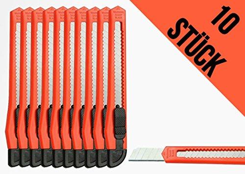 Preisvergleich Produktbild 10 Stück Mehrzweckmesser mit Abbrechklinge 9 mm Teppichmesser Cutter Messer Plastik