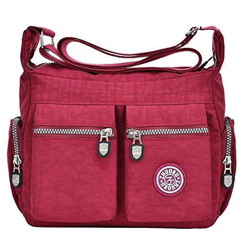 Tibes Bolsas de Hombro Impermeables Mujer Messenger Bag Bolso de cuerpo cruzado Nylon Bolso pequeño bolso de viaje Vin rouge
