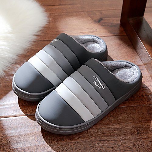 DogHaccd pantofole,Pantofole in pelle impermeabile femmina antiscivolo in cotone invernale pantofole coppie maschio coperta spessa invernale Caldo scarpe Grigio4