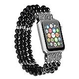 Apple Watch Bracciale catena palla catena Perler perline catena bracciale gioielli per Apple Watch Tutti i Modelli, nero, 42