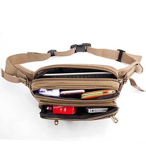 BUSL Wandern Hüfttaschen Herren-Leinwand im Freien Bergtasche Sportgeschäft Handytaschen der Kasse Paket weibliche Kuriertasche A