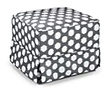 Storkcraft Polka Dot Upholstered Ottoman, Gray/White, Cleanable Upholstered Comfort Rocking Nursery Ottoman
