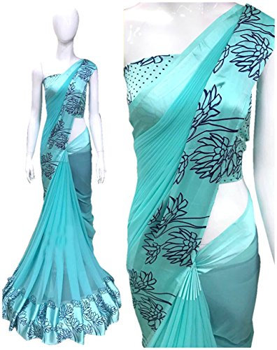 Deepjyoti Creation Women's Georgette Turquoise Color Sartin Print New Collection of Party...