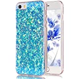 Carcasa iPhone 5S, Funda iPhone 5, JAWSEU Apple iPhone 5/5S/SE (4.0 Pulgadas) Carcasa Caso Estuche 3D Creativa Diseño Lujo Moda Crystal Bling Ultra Delgado Suave Carcasa para iPhone 5/5S Cubierta Purpurina llamativa Transparente Carcasa Cover para Apple iPhone SE Protectivo Tapa Trasera Shell Brillante Brillo Cubierta Funda de Silicona para Apple iPhone 5S/5/SE - Bling Azul