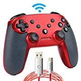 momen Nintendo Switch Pro Controller,Wireless Bluetooth Gamepad Für Nintendo Switch,Wireless Controller Für Nintendo Switch+ Led-Ladekabel (Rot) Kombination