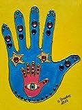 Hausschutz, energetisch, Fatimas Hand,gelb-blau, Acryl a. Leinwand,Straßsteine, 18 x 24cm