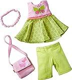 HABA 304253 - Kleiderset Schmetterling, Set aus Kleid, Hose, Handtasche und Haarband, Puppenzubehör...