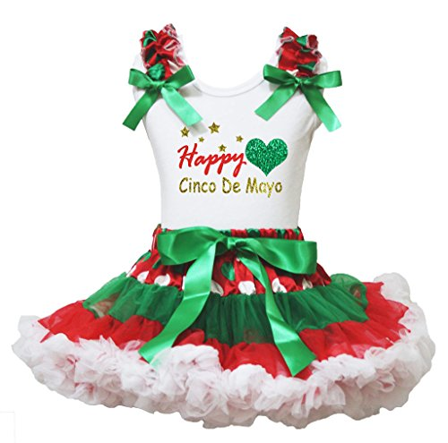 ches Cinco De Mayo weißes Hemd Rot Grün Rock Outfit Set 1-8Y 3-4 Jahre Rosa ()