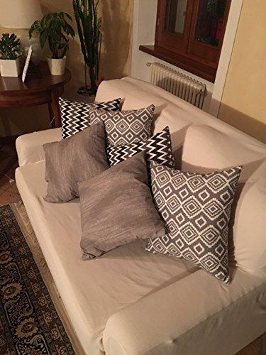 CUSCINI ARREDO FANTASIE MODERNE in set da 3 (45x45)colore grigio e fantasie sui toni del grigio