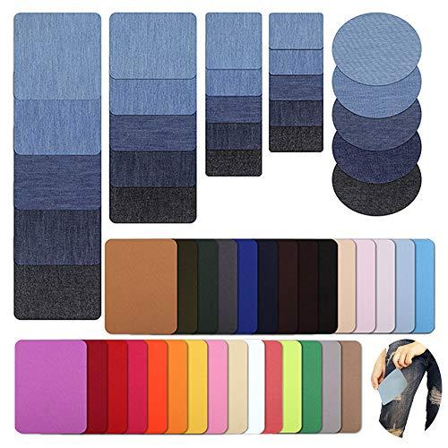 MEJOSER Bügelflicken Flicken Zum Aufbügeln Jeans 54 Stück Denim Baumwolle Patches zum Aufbügeln Aufbügelflicken Bügelflicken Jeans-Flicken für Kleidung Kinder und Erwachsene