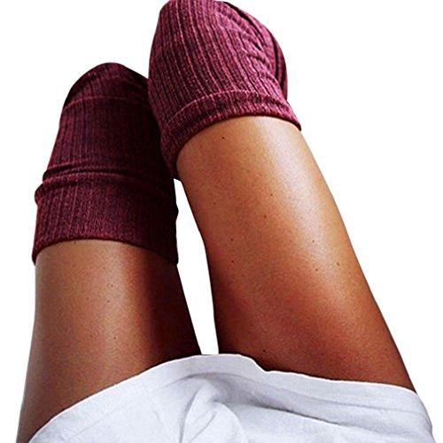 Yogogo Mode Filles Dames Femmes Garder Au Chaud Cuisse Haute Au-Dessus Du Genou Chaussettes Longue Coton Bas Hiver (Wine) Yogogo