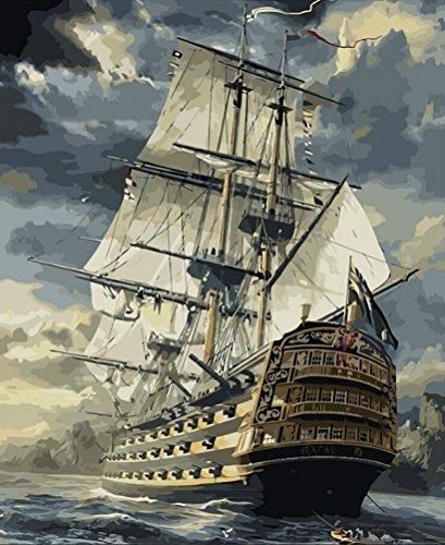 Bateau à voile Paysage DIY Peinture par numéro peint à la main vintage Peinture à l'huile, Toile, Sailing Boat, Unframed