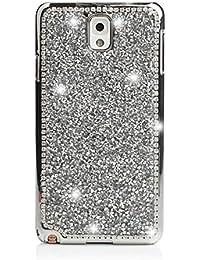 Samsung Galaxy S6Edge Funda/Case, elecfan®, Bling Crystal Crown Rhinestone Flower Pearl Diamond Diseño Sparkle Glitter Handmade hardplastic Smart Schutzhülle/Cover for Samsung Galaxy S6Edge, 2016New Diseño Splitter S6