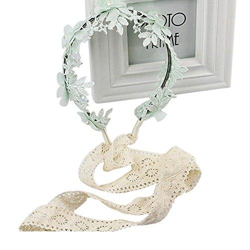 Mädchen Kinder Perlen spitze blumen Stirnband Kopfband Haarband Haarschleife Headband Haarschmuck für Party Fotografie (Mint Grün)