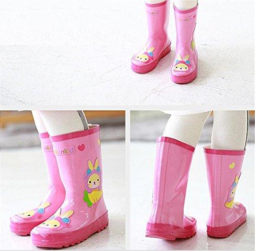 Chilsuessy Kinder Gummistiefel Regenstiefel Regenboots Cartoon Design Pink Kaninchen
