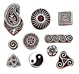 #8: Hashcart (Set of 10) Mughal Design Wooden Printing Stamp Block Hand-Carved for Saree Border Making Pottery Crafts Textile Printing