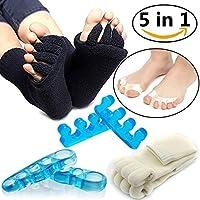 Preisvergleich für Zehentrenner-Set, schwarz weiß Zehen Ausrichtung Socken, Gel Zehen Abstandhalter Zehen Spannrahmen, therapeutische...