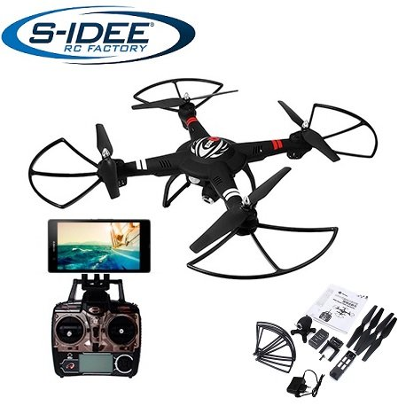 s-idee® 01628 Quadrocopter S303 Wifi HD Kamera FPV Höhenstabilisierung, One Key Return, Coming Home / Headless VR möglich, Drohne 360° Flip Funktion, 2.4 GHz mit Gyro, 4-Kanal, 6-AXIS System Drone mit Camera 720p