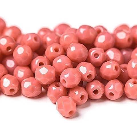60pcs 4mm ceca Fuoco Lucido Tondo Sfaccettato Perle di Vetro, Opaco Rosa Corallo