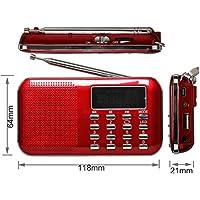 eJiasu Mini Digital FM de música USB portátil de tarjetas Radio Soporte de audio MP3 Player TF / Puerto USB con pantalla LED de visualización / linterna / antena de radio para el iPhone iPod PC (FM-rojo)