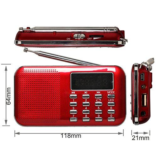 eJiasu Wiederaufladbare tragbare FM-Radio-Lade Digital LED-Spieler Display-Stereo-Lautsprecher USB-TF-Karte (Rot)