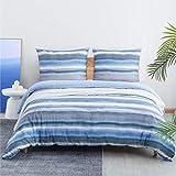 Bedsure Bettwäsche 135x200 cm Blau Bettbezug Set mit allmählich Streifen Muster, 2 teilig microfaser Bettwäsche Flauschige Bettbezüge mit Reißverschluss und 1 mal 80x80cm Kissenbezug