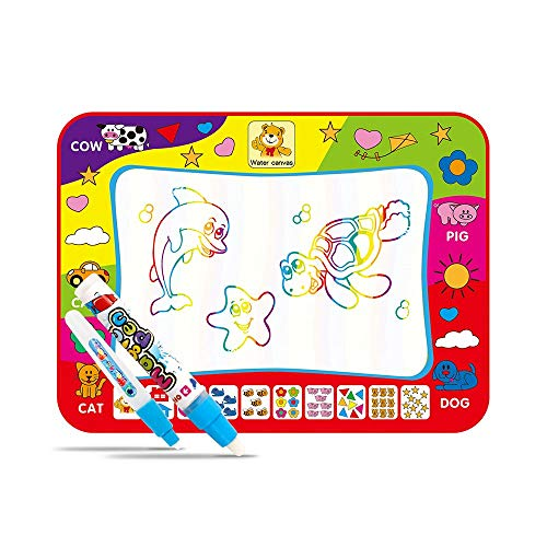 Magic Water Drawing Mat with Rainbow Color Swatches,Children Magic Water Drawing Mat Board,Educational Toy Gift For Kids