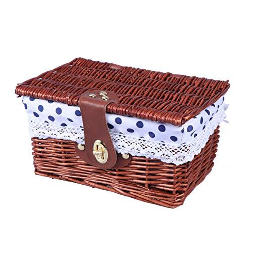 Wicker Ablagekorb (Yardwe Weidenkorb mit Deckel Verschluss Wicker Picknickkörbe Ablagekorb Aufbewahrungskorb (Braun und Blau Dot))