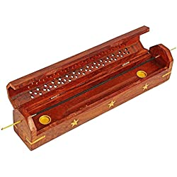 Día de madres regalos palo de incienso de madera Titular de la grabadora de cono Estrella de latón incrustaciones Decoración del hogar