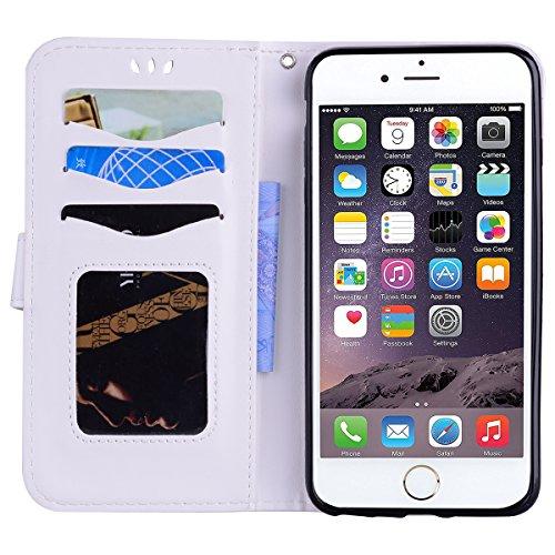 Cover iPhone 5 5S SE Pelle, E-Unicorn Custodia Apple iPhone 5 5S SE Pelle Portafoglio Flip Cover a Libro Oro Unicorno Modello Disegno Brillantini Glitter Case [Supporto Stand][Slot per Schede] TPU Sil Bianco