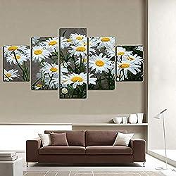Lienzo Decoración para el hogar Pintura Cuadros modulares HD Impreso 5 piezas Margarita blanca Girasol Flores Habitación de la pared-80Wx40H(inch)
