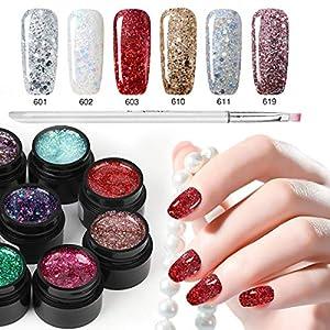 6 Colour Glitter Nail Polish+ Painting Pen, Saviland Soak off Diamond Gel Nail Varnish Set