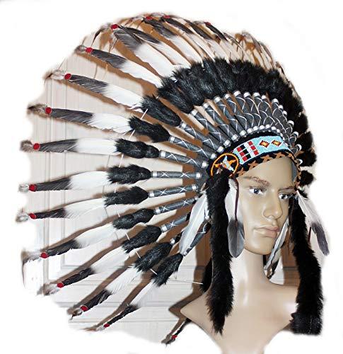 Hejoka NEU Indianer Kopfschmuck Federhaube UNIKAT EDEL weiße Federn mit schwarzer Spitze Perlen für FOTOSHOOTING Fasching Kostüm - Medizinmänner Kostüm