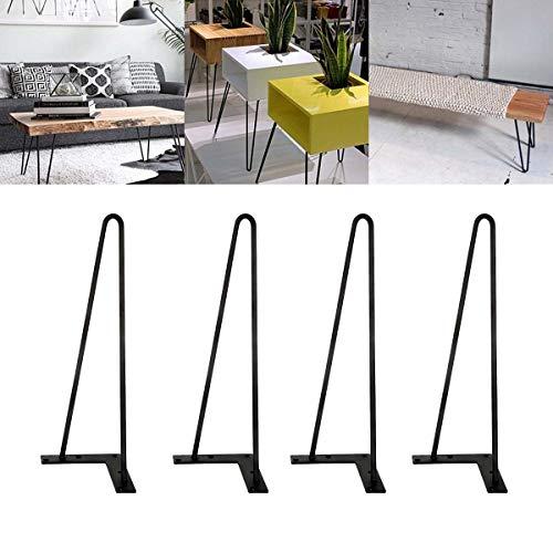 4 Stück Haarnadel Tischbeine Metall Tischgestell Tischkufen Haarnadelbeine Möbelbein Austauschbare Möbelfüße für Esstisch Couchtisch Schreibtisch Arbeitstisch Durchmesser 10 mm Schwarz (30 cm) -