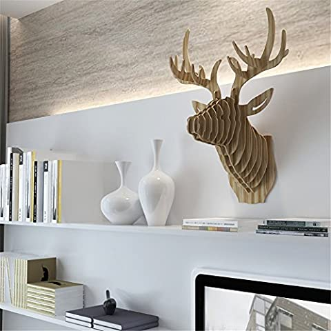 HROOME 3D Moderne Mur Art trophée Bois Sculpture de Tête