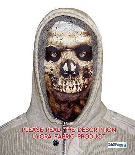 (L&S PRINTS FOAM DESIGNS Halloween Skull Face Novelty Fun Stoff Face Maske Design Snood Gesichtsmaske hergestellt in Yorkshire)