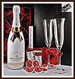 Geschenk Champagner Moet & Chandon Ice Imperial limitiert + 20 Edel Schokoladen Confiserie DreiMeister + 2 Champagnergläser von Stölzle kostenloser Versand