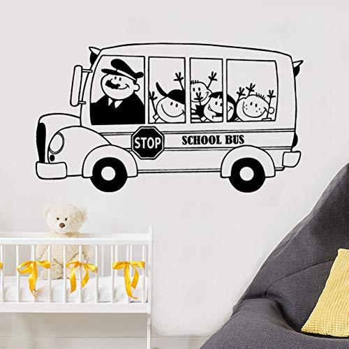 GUDOJK Wandaufkleber Schulbus Wandtattoo Glückliche Kinder Kinder Wandaufkleber Zurück Zu Schule Wanddekoration Abnehmbare Vinyl Kinder Wandkunst Wandbild (Zu Zurück Schule-tür-dekorationen)
